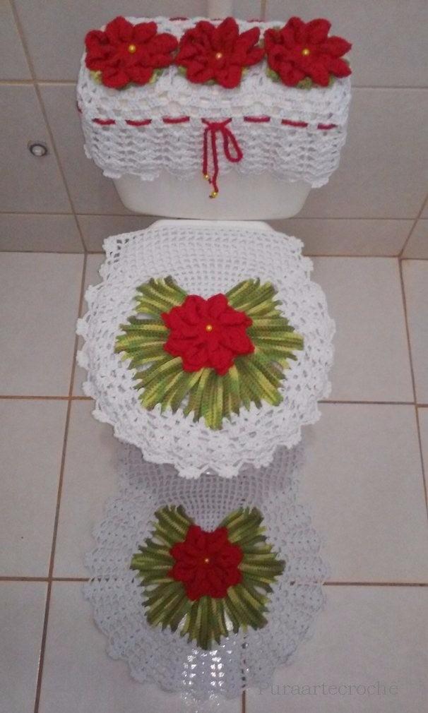 jogo tapete de banheiro croch barbante croch kit 3 pe as