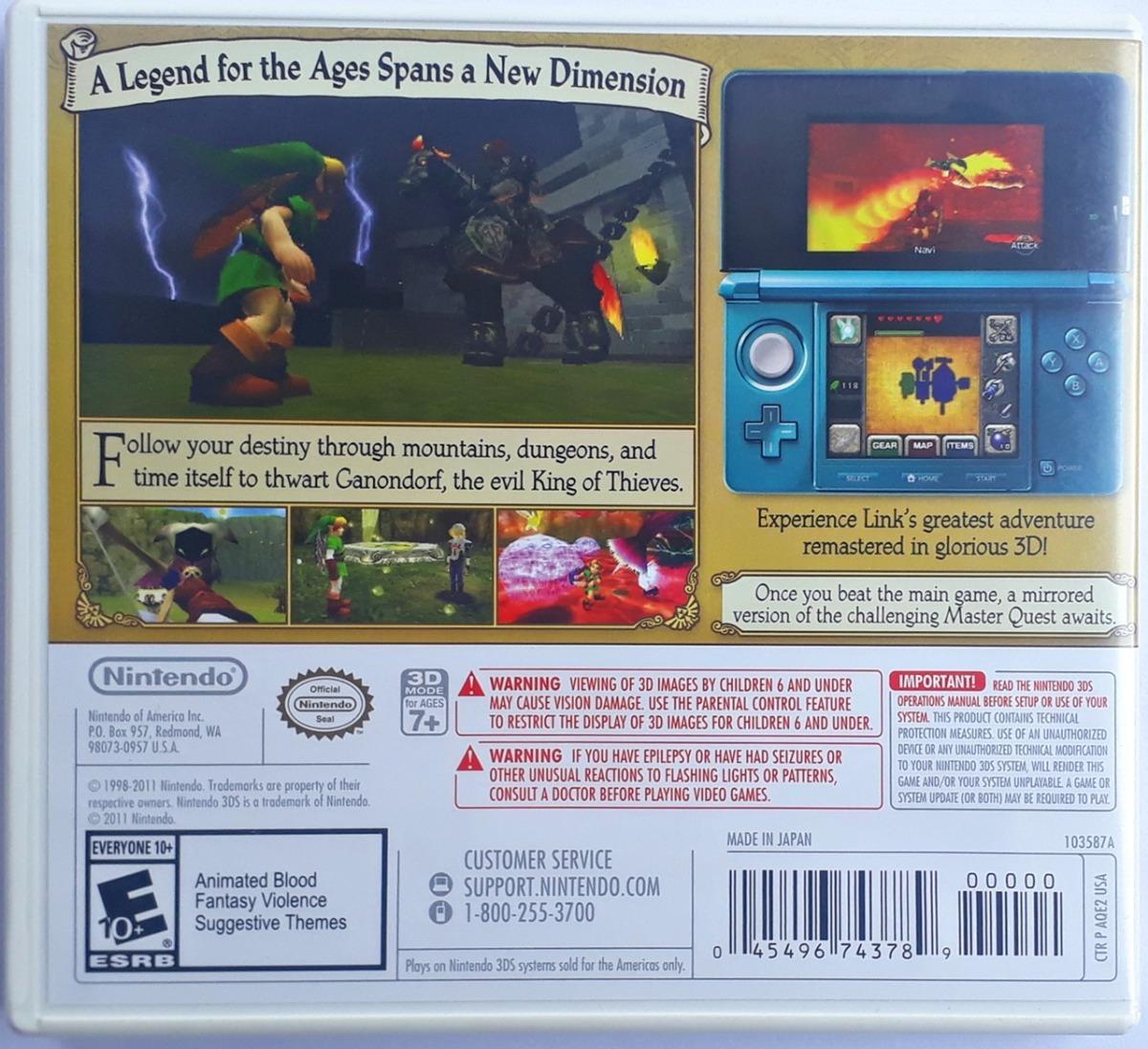 Jogo The Legend Of Zelda Ocarina Of Time 3d Nintendo 3ds