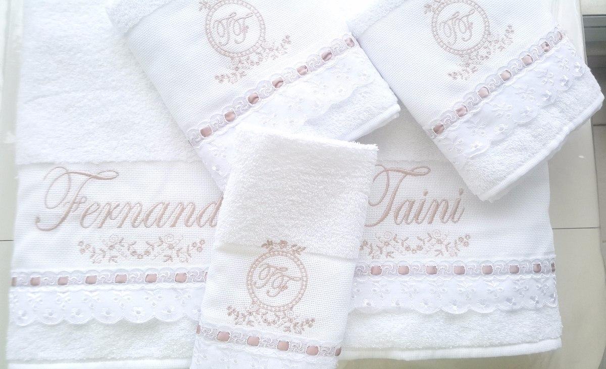 e27be047c6e2 Jogo Toalhas Banho Casal Floral Bordada Personalizada - R$ 179,65 em ...