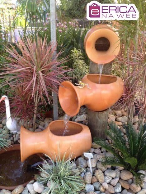 Jogo vasos ceramica fonte cascata enfeite decorativo for Faroles de barro para jardin