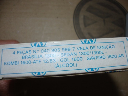 jogo velas álcool gol brasilia fusca kombi a ar original vw