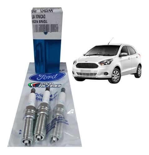 jogo velas originais ford fomoco novo ka 1.0 12v 3 cilindros