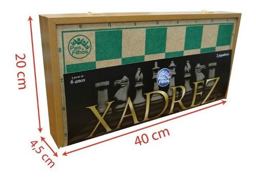 jogo xadrez tabuleiro estojo de madeira 40 cm pais e filhos