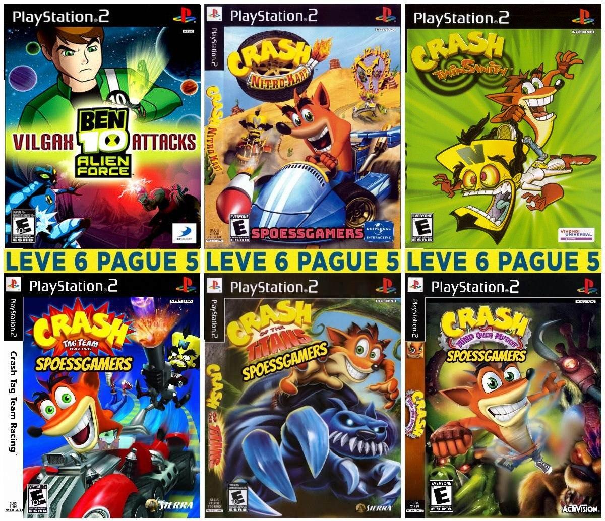 Jogos 6 Patchs Ps2 Crash Bandicoot Collection Com Encarte