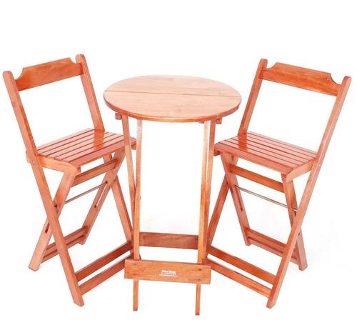 jogos de mesa bar bistrô dobrável em madeira 2 cadeiras