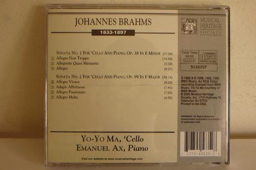 johannes brahms the cello sonatas musica clasica opera
