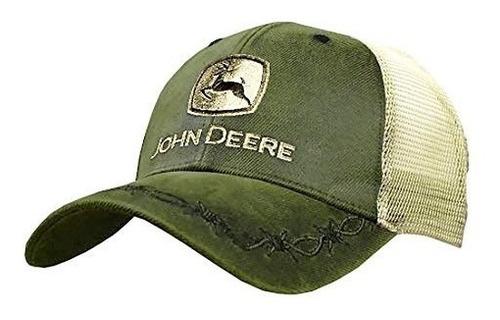 john deere oilskin malla sombrero bordado, oliva