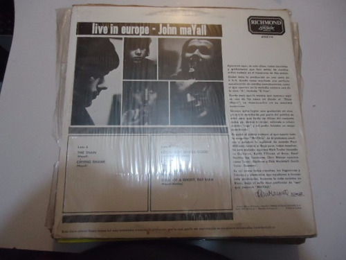 john mayall / live in europe vinyl lp acetato