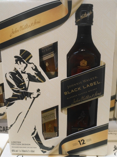 johnnie walker black label botella 750 ml + 2 mini de 50 ml