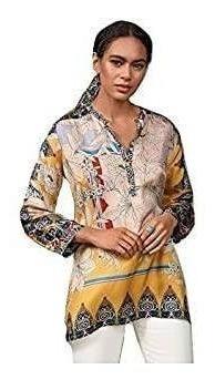 johnny era túnica pedia de seda con cuello en v para mujer e