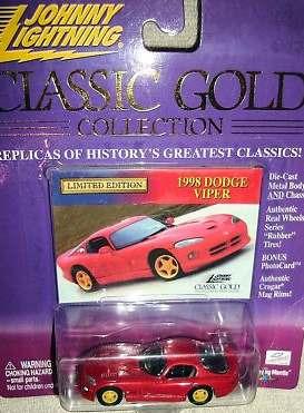 johnny lightning classic gold 1998 dodge viper (lacrado)