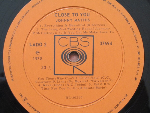 johnny mathis - lp close to you (1970)*