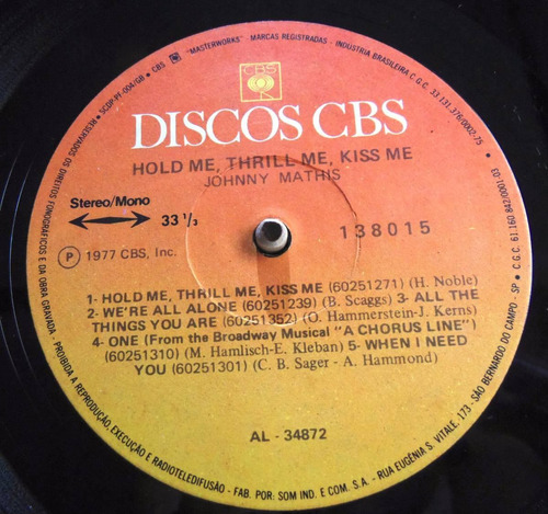 johnny mathis - lp hold me thrill me kiss me (1975)* stereo*