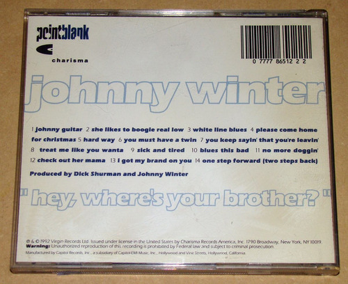 johnny winter hey where's your brother? cd usa / kktus