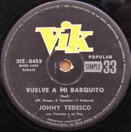 johny tedesco - vuelve a mi barquito - simple 1964
