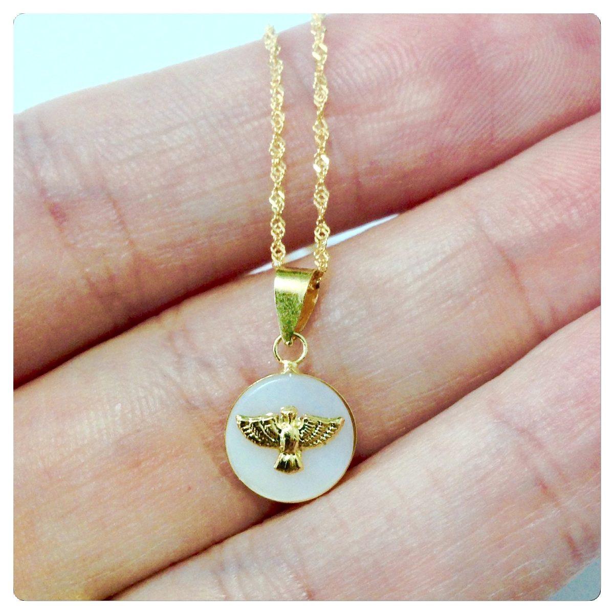 103942fd6a902 joia cordão e pingente espirito santo madrepérola ouro 18k. Carregando zoom.
