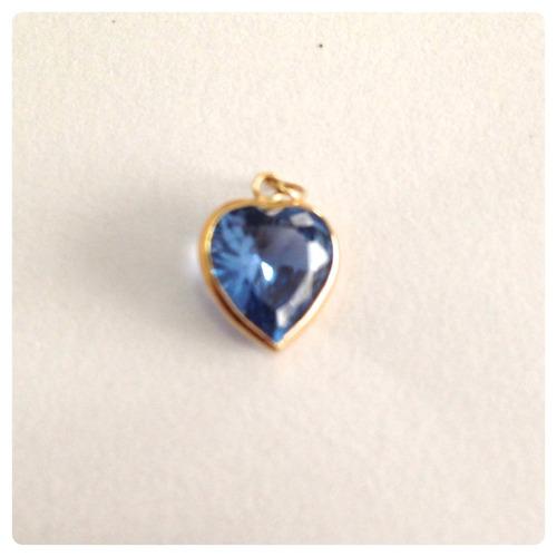 joia cordão pingente coração 8 mm água marinha ouro 18k