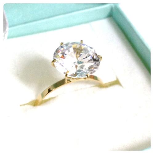joia ouro anel solitário