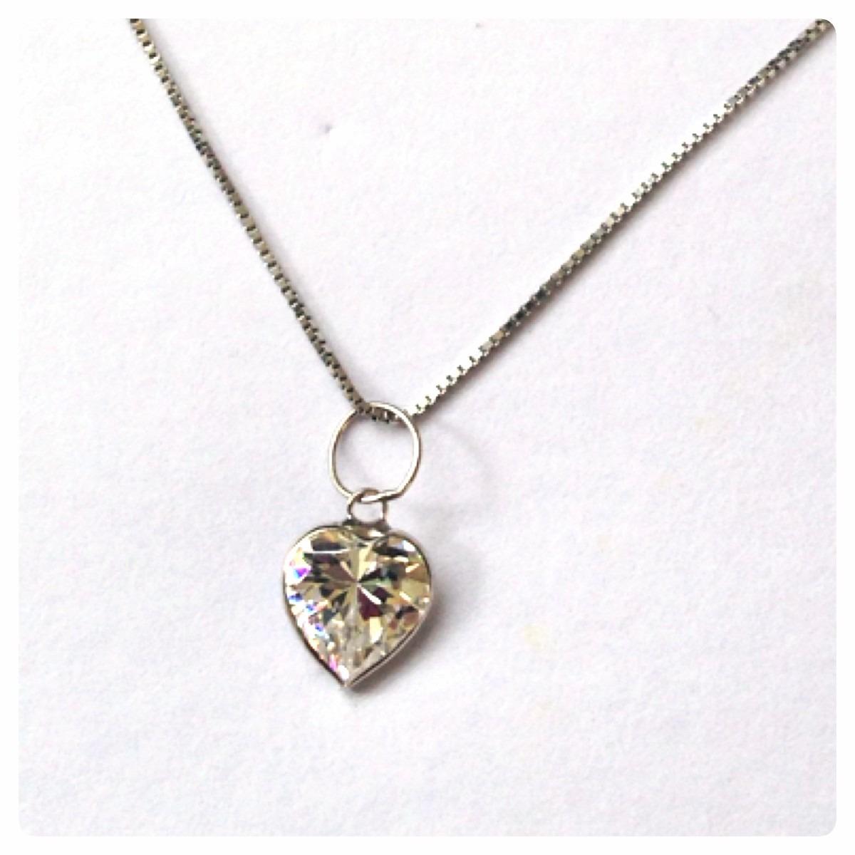 Carregando zoom... corrente luxo pingente coração de 6 mm joia ouro branco  18k 29169589ce