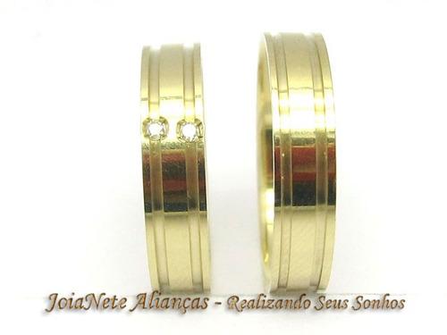 joianete aliança ouro18k(par) 8g2canal 2 diamante casamento