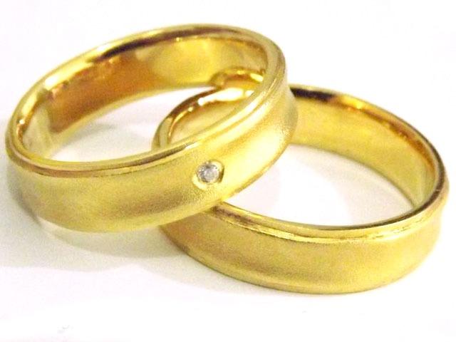 195bb35f0cd Joianete Par Alianças Côncavas Ouro 18k- Foscas Diamante 12g