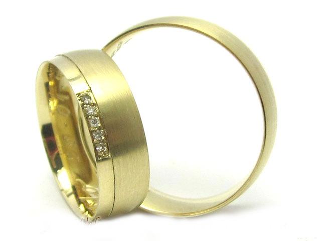 b6e880ec283 Joianete Par Alianças Ouro 18k Fosca 5 Diamantes 10g