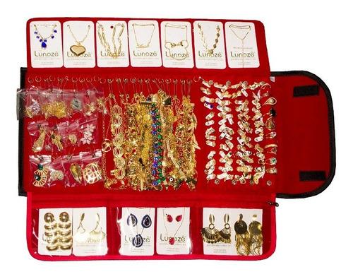 jóias folheadas kit atacado contendo 100 peças promoção mês