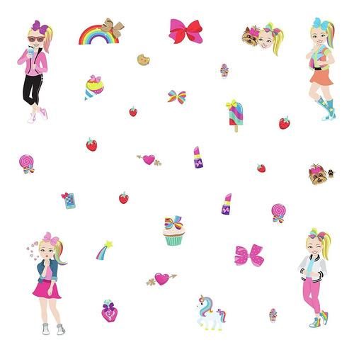 jojo siwa cartoon peel and stick wall decals  pink wal...