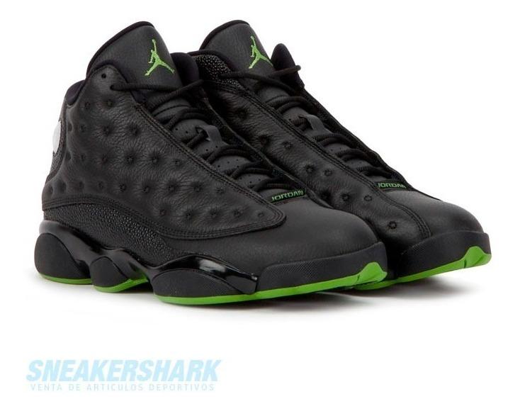 timeless design 905b7 26d9d Jordan 13 Retro Altitud Black Green Sneakershark