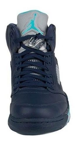 jordan mens retro 5 midnight navy / white / turq blue 13602