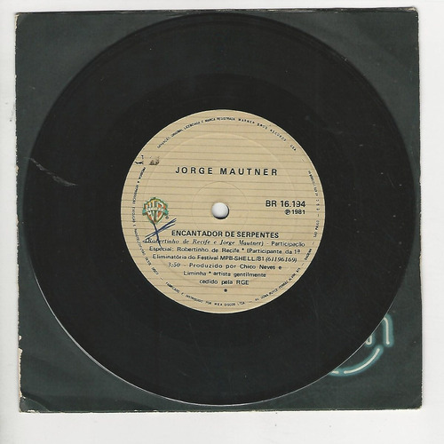 jorge mautner 1981 encantador de serpentes - compacto ep f6