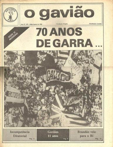 jornal o gavião - julho / agosto 1980- corinthians item raro