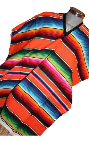 jorongo poncho mexicano sarape saltillo rojo-negro-blanco