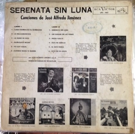 jose alfredo jimenez, serenata sin luna vinilo colombia