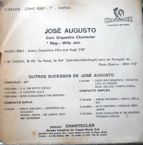 josé augusto - compacto vinil chantecler - nosso erro