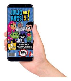 Jóvenes Titanes Tarjeta Digital Imprimible