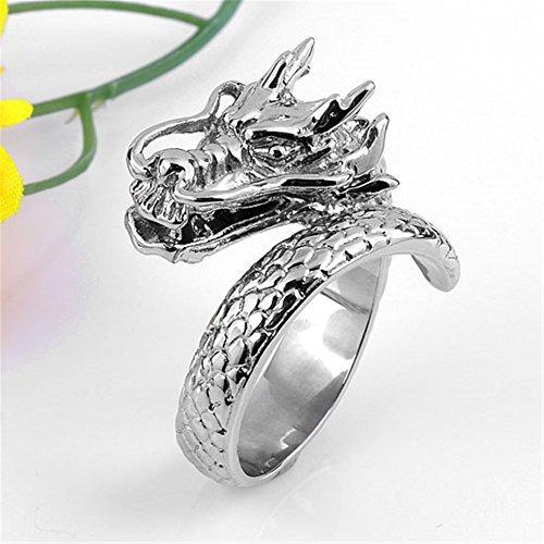 jovivi punky gótico de acero inoxidable cool winding dragon