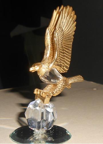 joya aguila cristal plata bañada en oro 9k pieza coleccion