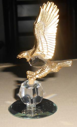 joya aguila cristal plata bañada en oro pieza de coleccion