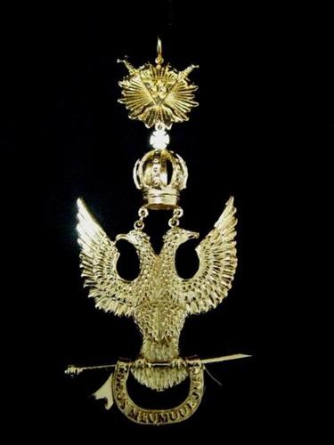 joya masonica grado 33 aguila bicefala metal dorado