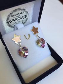 7033d368829 Joyas Aros Cristal Swarovski Elements Corazón Estrella Plata