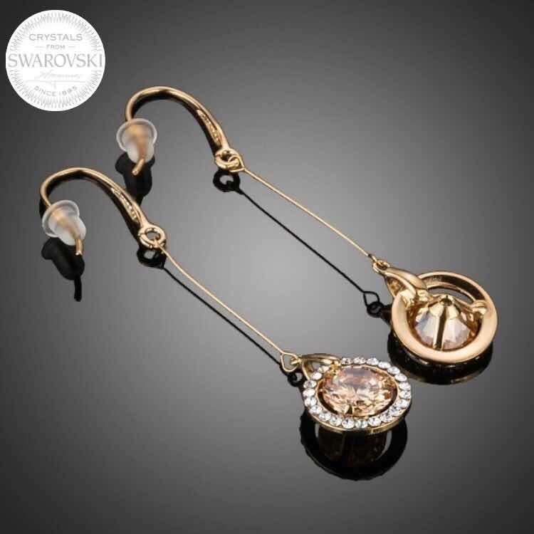 f4bcc30b77b4 joyas swarovski aros bañados oro rosa rivoli golden shadow · joyas aros oro