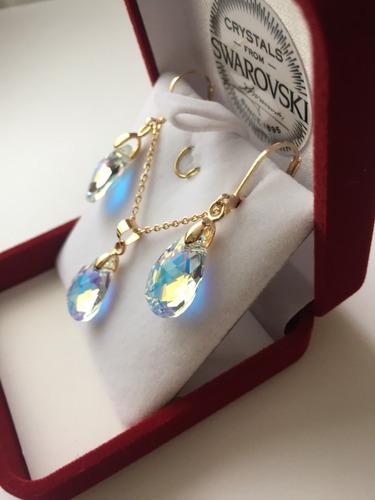 joyas conjunto swarovski elements pear ab oro goldfilled 14k