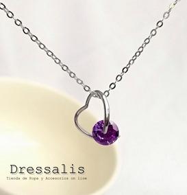 00542f40 Joyas Ds - Collar De Plata Mujer Corazón Cristal Purpura