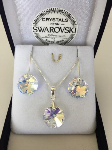 joyas swarovski conjunto rivoli ab cadena de plata día madre