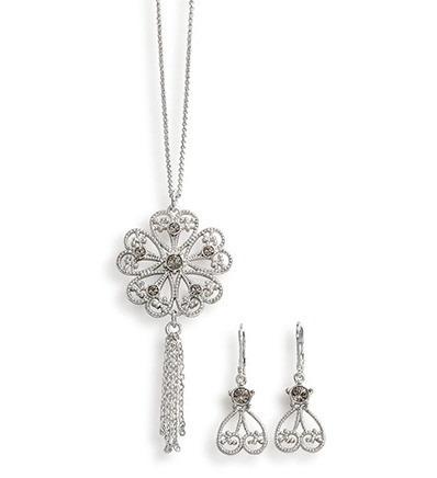 joyas unique coleccion diva diamond collar+aretes nuevo orig