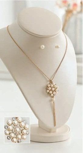 joyas unique coleccion tresor perla: collar+aretes nuevo