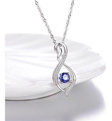 joyerãa fina collar de zafiro azul  por siempre amor infi