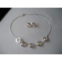 Fina Colección Plateada Con Perlas Collar + Aros