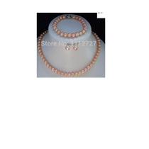 Precioso Conjunto Perlas Cultivadas Rosa,collar,aros,pulsera